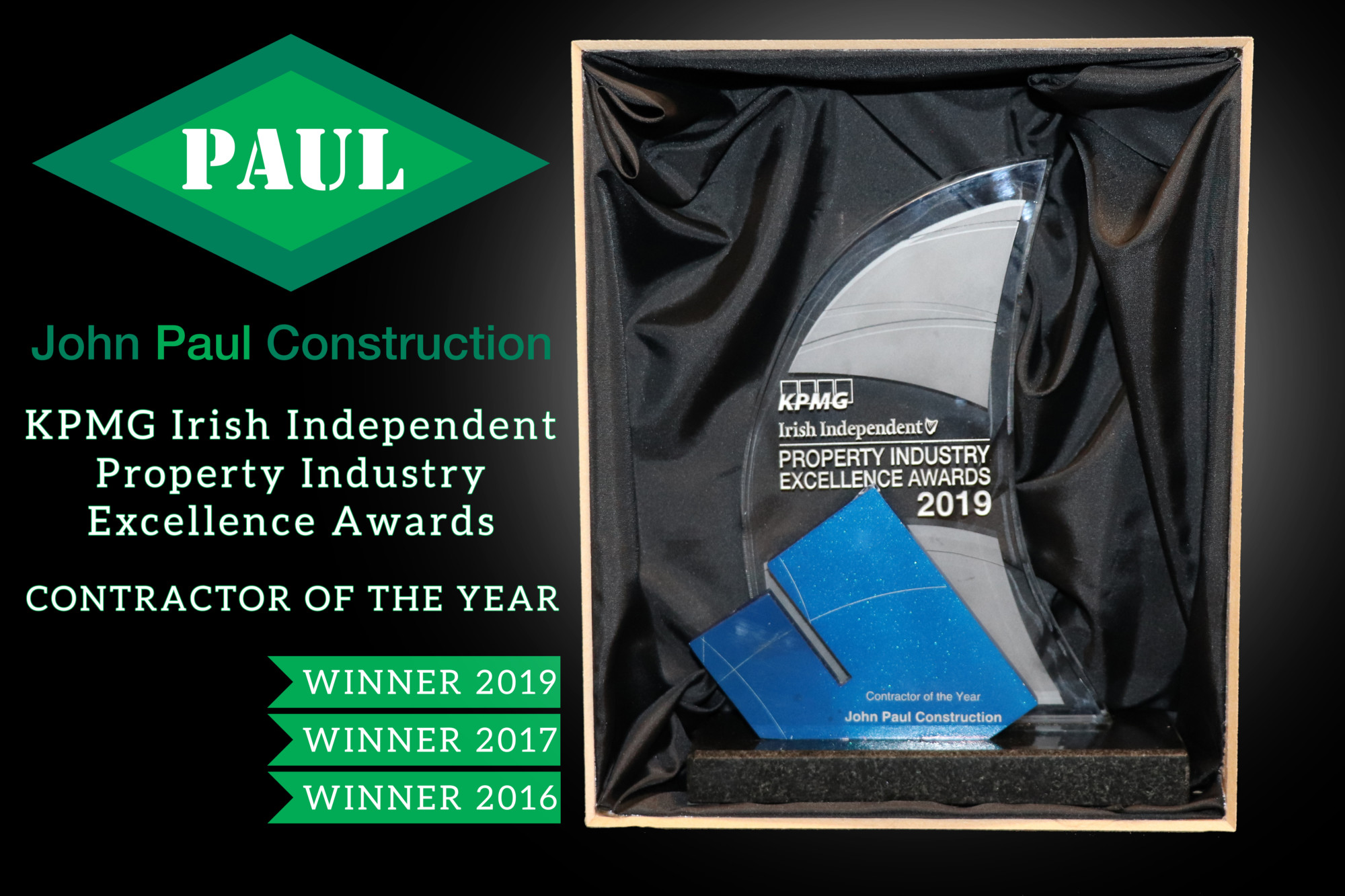 KPMG Irish Independent Property Industry Excellence Awards - Contractor of the Year 2019