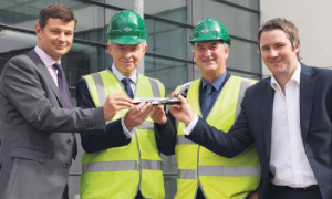 Paul Finucane, Colliers, Eamon Booth, Bruce Lupton-Smith, both John Paul Construction and Robin Kiely, Ryanair, at Ryanair's offices at Airside Business Park