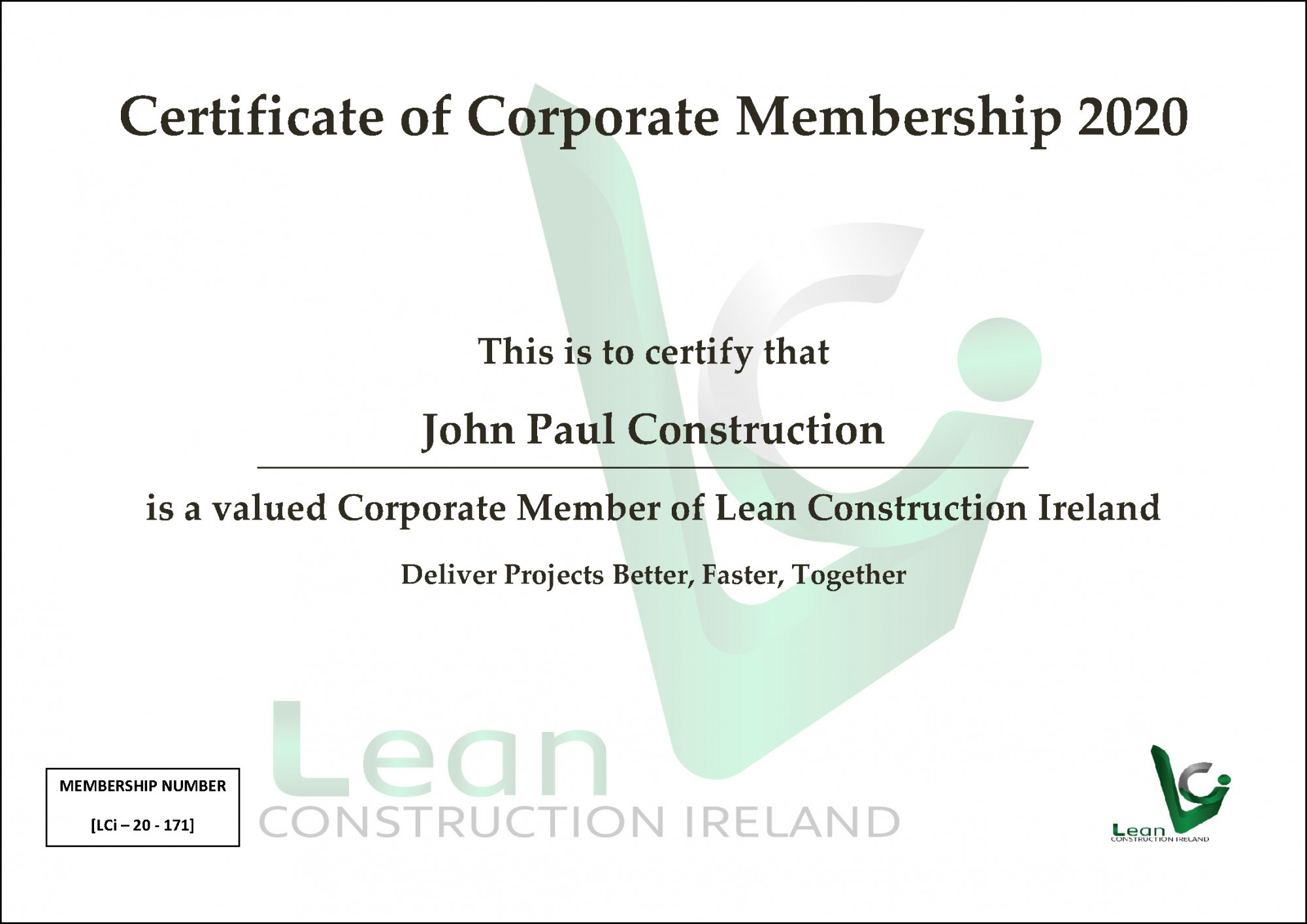 Lean Construction Ireland Certificate of Membership